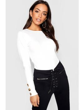 Rib Knit Jumper With Horn Buttons by Boohoo