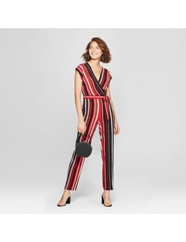 Women's Striped Short Sleeve Wrap Jumpsuit   Almost Famous (Juniors') Black/Red by Almost Famous