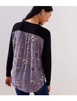Lilac Garden Mixed Media Sweater by Loft