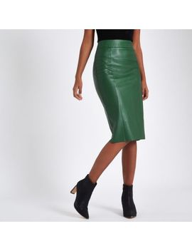 Green Faux Leather Pencil Skirt by River Island