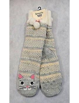 Bnwt Accessorize Knitted Cat Slipper Socks   One Size 4 7 (R38) by Ebay Seller