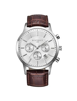 District London Executive Edition 40 Imm Men's Quartz Luxury Sub Dial Watch Analogue Display And Leather Strap   Classic Elegant Design   Dress Watch   Waterproof Wristwatch With Stainless Steel Case. by District Ldn