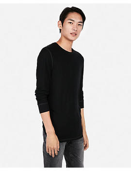Seamed Waffle Long Sleeve Shirt by Express
