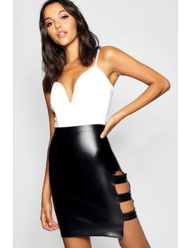Tall Pu Strappy Mini Skirt by Boohoo