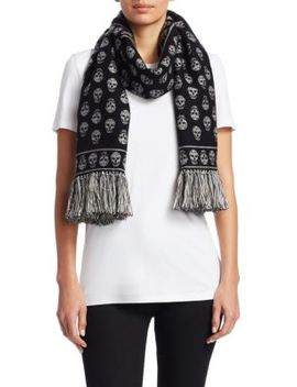 Skull Wool & Silk Fringe Scarf by Alexander Mc Queen