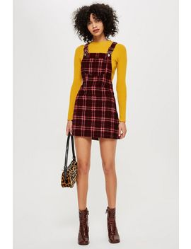Tall Check Print Corduroy Pinafore Dress by Topshop