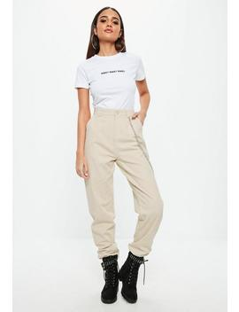 Petite Beige Chain Detail Cargo Pants by Missguided