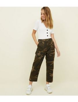 Petite Khaki Camo Print Cropped Cargo Trousers by New Look