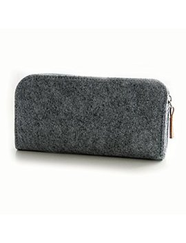 Pen Bags, Large Capacity Pencil Holder Makeup Pouch Felt Zipper Case Durable Students Stationery For Pens, Pencils, Highlighters, Gel Pen(Oblate Shape,Gray) by Emvanv