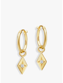 Missoma Diamond Charm Solitaire Crystal Hoop Earrings, Gold by Missoma