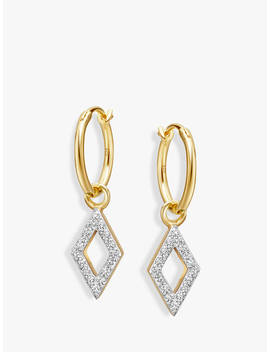 Missoma Diamond Charm Hoop Earrings, Gold by Missoma