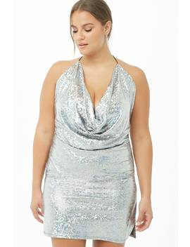 Plus Size Iridescent Geo Halter Dress by Forever 21