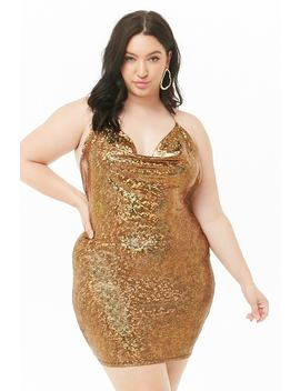 Plus Size Iridescent Halter Dress by Forever 21