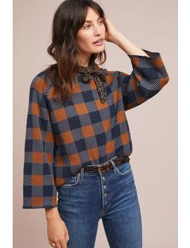 Plaid Intarsia Sweater by Numph