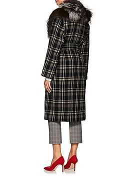 Fur Collar Plaid Wool Coat by Pas De Calais