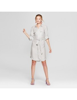 Women's Striped Long Sleeve Shirtdress   A New Day™ Gray by A New Day™