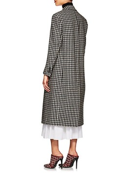 Houndstooth Tweedy Wool Blend Long Coat by Derek Lam