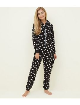 Girls Black Mickey Mouse Hooded Onesie by New Look