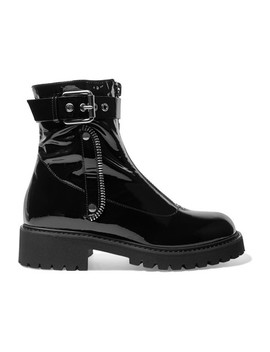 Patent Leather Combat Boots by Giuseppe Zanotti