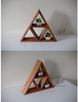 "Solid Wood Pyramid   Triangle Shelf 13.5""X 3"" . Different Design & Color by Etsy"