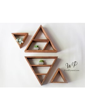 "Set Of 4 Triangle Shelves (2pcs 13.5""X 3"" And 2pcs  7""X3""). Solid Wood Pyramid Triangle Shape. Different Design & Color by Etsy"