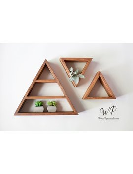 "Set Of 3 Triangle Shelves (1pcs 13.5""X 3"" And 2pcs  7""X3""). Solid Wood Pyramid Triangle Shape. Different Design & Color by Etsy"