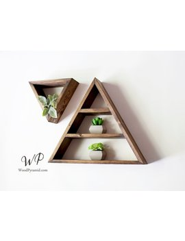 "Set Of 2 Triangle Shelves (1pcs 13.5""X 3"" And 1pcs  7""X3""). Solid Wood Pyramid Triangle Shape. Different Design & Color by Etsy"