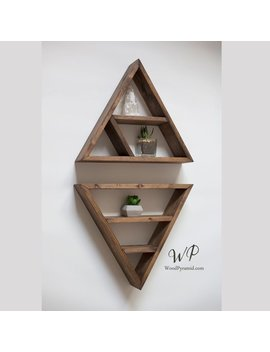 "Set Of Two Shelves 16""X 3"". Solid Wood, Pyramids   Triangle Shape. Different Design & Color by Etsy"