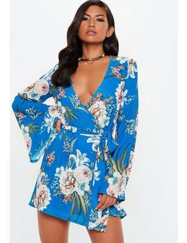 Blue Hi Low Wrap Mini Dress by Missguided
