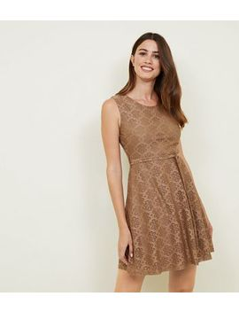 Mela Brown Floral Lace Belted Skater Dress by New Look