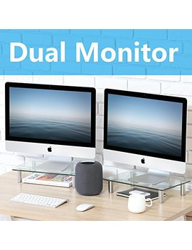 Fitueyes Clear Computer Monitor Riser Dual Desktop Stand For Xbox One/Component/Flat Screen Tv  2 Pack,Dt103803 Gc by Fitueyes