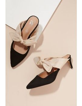 Vanessa Wu Bow Slip On Heels by Vanessa Wu