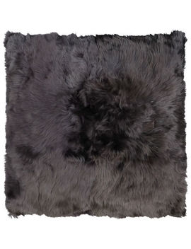 Grey Long Haired Alpaca Cushion 48 X 48cm by Alpaca Couture