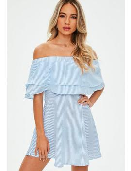Blue And White Striped Ruffle Layer Bardot Swing Dress by Missguided