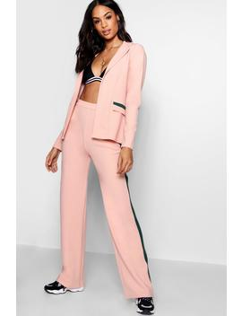 Contrast Stripe Wide Leg Trouser by Boohoo