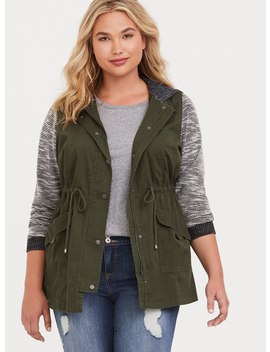 Olive Marled Mixed Media Anorak by Torrid