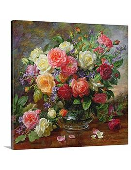 "Albert Williams Premium Thick Wrap Canvas Wall Art Print Entitled Roses   The Perfection Of Summer 16""X16"" by Canvas On Demand"