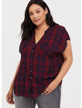 Red Plaid Dolman Blouse by Torrid