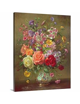 "Albert Williams Premium Thick Wrap Canvas Wall Art Print Entitled A Summer Floral Arrangement, 1996 16""X20"" by Canvas On Demand"