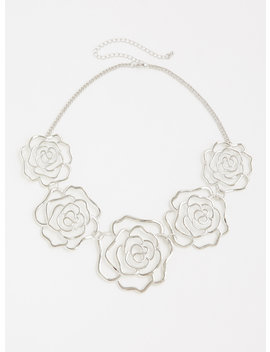 Silver Roses Statement Necklace by Torrid
