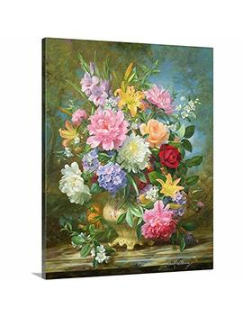 "Albert Williams Premium Thick Wrap Canvas Wall Art Print Entitled Peonies And Mixed Flowers 16""X20"" by Canvas On Demand"
