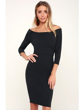 C.E.O. My! Black Three Quarter Sleeve Bodycon Midi Dress by Lulus