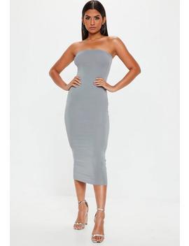 Grey Bandeau Midi Dress by Missguided