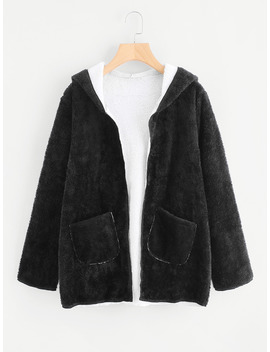 Dual Pocket Faux Fur Hooded Coat by Romwe
