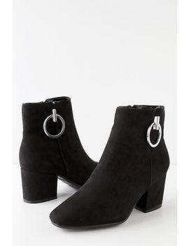Winnoa Black Suede Ankle Booties by Lulu's
