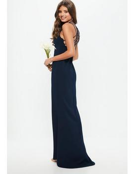 Navy 90s Neck Strappy Fishtail Maxi Dress by Missguided