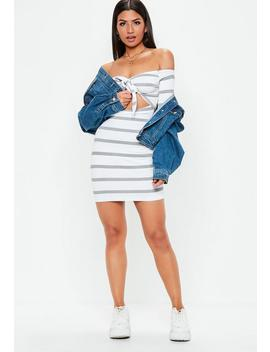 Grey Bardot Knot Front Striped Bodycon Dress by Missguided