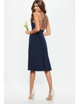 Bridesmaid Navy 90s Neck Strappy Skater Midi Dress by Missguided