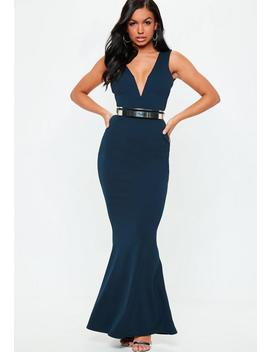 Blue V Plunge Maxi Dress by Missguided