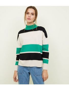 Blue Vanilla Green Striped High Neck Jumper by New Look